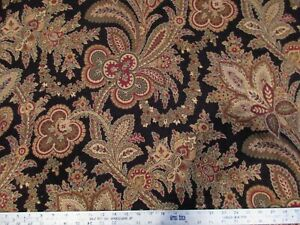 Madeira Black Upholstery Fabric Calico Corners Floral Scroll 2 1 4 Yards plus $28.99