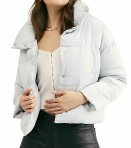 NEW Sz Small S FREE PEOPLE Weekender Winter Light Quilted Puffer Light Blue $62.95