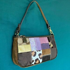coach limited edition brown and purple patchwork demi bag