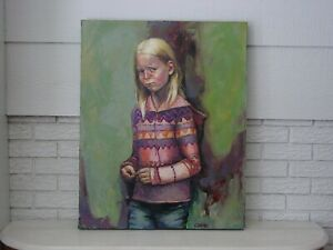 """"""" THE POUT """" by Donna Corno Original Oil Signed  W 24"""" x H 30.5"""" Gallery Wrap $4350.00"""