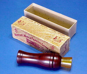 VINTAGE HERTERS World Famous No 279 Glodo Type duck call in box pretty rosewood