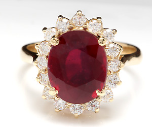 6.70 Carats Red Ruby and Natural Diamond 14K Solid Yellow Gold Ring