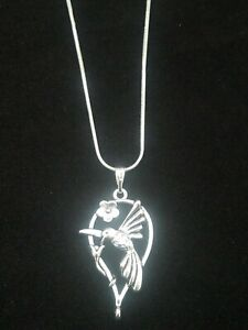 Hummingbird Necklace Pendant Silver on Sterling Silver Chain $8.99