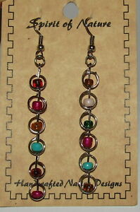 Bead Earrings Silver Tone New Spirit of Nature Native Designs Pink Blue Green $13.99