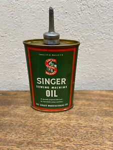 Vintage Singer Sewing Machine Oil Can 3 Fluid Ounces mostly empty missing cap $24.99