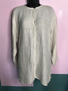 Eileen Fisher Beige Button Down Linen Tunic Small $29.99