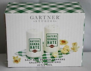 Game Day Tailgate Party Football Salt and Pepper Shakers HATERS GONNA HATE