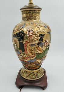 Antique Satsuma Vase Lamp Japanese Figural and Landscape High Relief