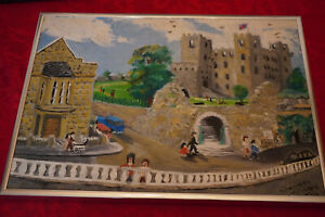 VINTAGE PAINTING OF ROCHESTER CASTLE AND DICKENS HOUSE KENT ENGLAND $60.00