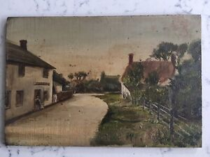 ANTIQUE PAINTING ON WOOD PANEL VILLAGE SCENE SIGNED AND DATED 1911 $149.95