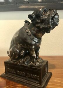 Antique Original Bulldog Mechanical Cast Iron Bank $950.00