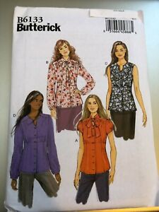 Butterick Pattern B6133 Ms Button Front Blouse w Collar Sleeve Variations $2.75