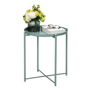 Round Metal Outdoor Side Table Patio Garden Wrought Iron Living Room Side Table $37.99