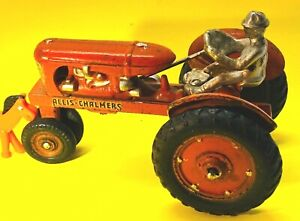 Rare Antique Original Arcade Allis Chalmers Cast Iron 7quot; Tractor w Nickel Driver $650.00