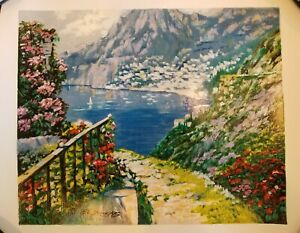 Howard Behrens Limited Edition Road to Positanto Lithograph Print $89.99