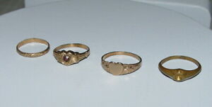 Lot OF 4 Victorian 10k YELLOW GOLD BABY RINGS $174.95