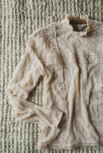 S Vintage Victorian Style Beige Lace High Neck Top Small Boho Blouse Sheer NWT $38.00