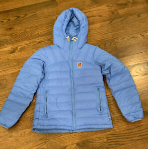 Worn Once Fjallraven Expedition Pack Down Jacket Hooded Blue Sz Small Womens $255.00