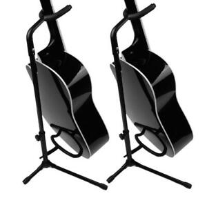 2 x Music Folding Stand Padded for Acoustic Electric Bass Guitar Studio Hanger