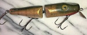 Lucky Lures Vintage Jointed Pike Minnow Lure quot;Shur Strikequot; Pike Finnish 4.5quot;
