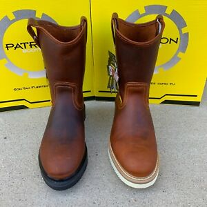 MEN#x27;S WORK BOOTS SOFT TOE PULL ON ROUND TOE SAFETY BROWN GENUINE LEATHER #107RAY