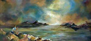 Sunset Beach Colorful Seascape Original Oil Painting 10x20 fully framed by artis $189.00
