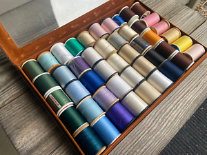 Vintage Mixed Colors Lot Of 47 Large Sewing Spools Thread Leather Box $19.99