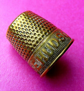 ANTIQUE SEWING BRASS THIMBLE ADVERTISING quot;USE HUDSONS SOAPquot; $8.00