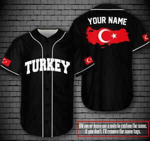 PERSONALIZED NAME TURKISH TURKEY LOVELY COUNTRY BASEBALL JERSEY BLACK