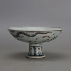 China ming Porcelain dynasty chenghua mark Blue white red dragon High foot Bowl $161.10