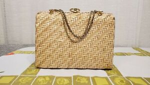 Vintage Purse Wicker with Metal Chain Handles by Marcus Brothers $40.00