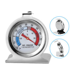 Refrigerator Freezer Thermometer Fridge DIAL Type Stainless Steel Hanging Stand