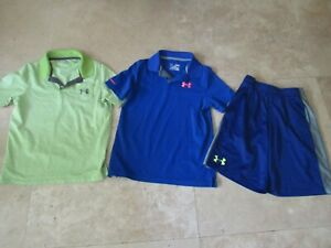 Lot 3 boys size M YMD Under Armour polo shirts shorts $13.50
