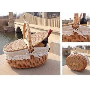 New Handmade Wicker Basket with Handle Wicker Camping Picnic Basket with Double