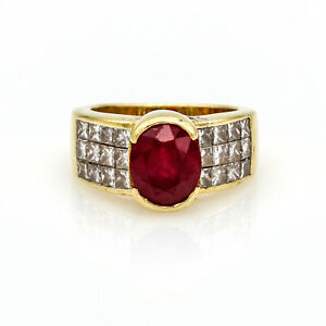 6.00 carat Signed Ruby and Diamond Statement Ring in 18k Yellow Gold