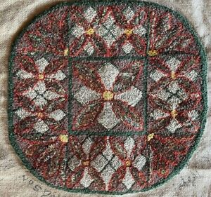Antique Round Hooked Rug Chair Mat Table by Mrs. Rayal F. Manson Hudson Mass. $26.99