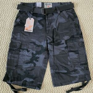 NWT Men#x27;s Ablanche Black Gray Camouflage Camo Belted Cargo Shorts ALL SIZE 30 40