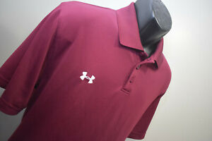 Under Armour Golf Polo HeatGear Loose Burgundy Short Sleeve Athletic Mens Large $24.99