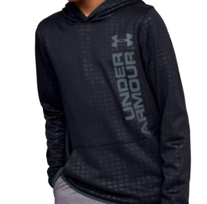 Under Armour Boys Youth Armour Fleece Embossed Hoodie M L XL Black Wire