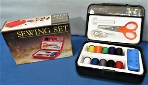 Sewing Set Thread Buttons Scissors Snaps Needles Threader Measuring Tape $4.85