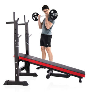 Folding Weight Bench With Rack Adjustable Lifting Strength Gym Workout Home Gym $85.49