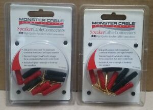 * 2 Packs of 8 * Monster Cable Speaker Connectors 24K Gold Angled Pin Lock Notch $22.00