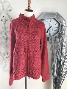 J JILL medium RED ORANGE THICK CABLE KNIT LONG SLEEVE ZIP UP SWEATER CARDIGAN $29.98