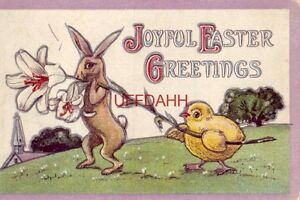 JOYFUL EASTER GREETINGS rabbit and chick carrying Easter lily Embossed $14.99