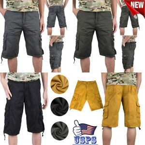 Men#x27;s Cargo Shorts Fit Twill Camouflage 3 4 Military Shorts Casual Multi Pocket