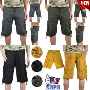 Men Cargo Shorts Fit Twill Camouflage 3 4 Military Shorts Casual Multi Pocket
