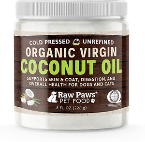 Raw Paws Organic Virgin Coconut Oil for Dogs amp; Cats 8 oz Supports Immune Oral
