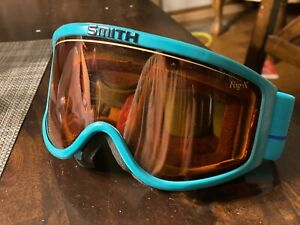 COOL Vintage 80s 90s SMITH SKI GOGGLES. Teal Black PINK Amber lens thick band.