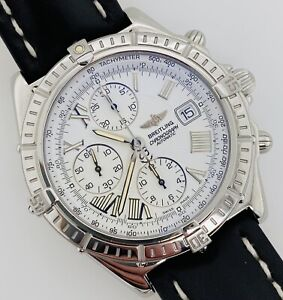 Breitling Chronomat Crosswind Automatic Chronograph White Dial Box Papers A13355