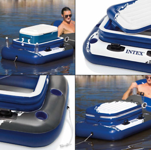 Inflatable Mega Chill II 72 Can Beverage Cooler Float With Lid White Blue